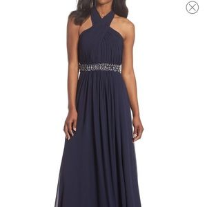 Eliza j halter cross neck gown